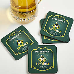 9th Hole Personalized Bar Coasters