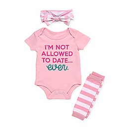 "Baby Starters® 3-Piece ""Not Allowed to Date"" Bodysuit, Leg Warmer, and Headband Set in Pink"