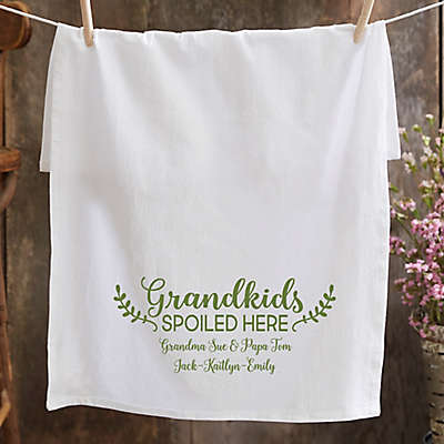 Personalized Grandkids Spoiled Here Tea Towel