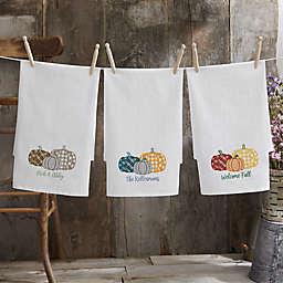 Personalized Plaid Pumpkin Flour Sack Towel