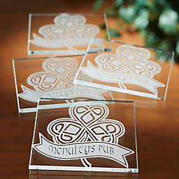 Personalized Celtic Shamrock Glass Coaster Set of 4