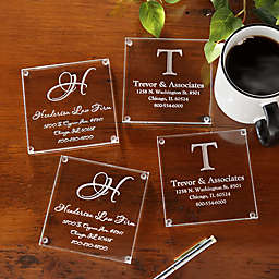 Personalized Business Monogram Glass Coasters Set of 4