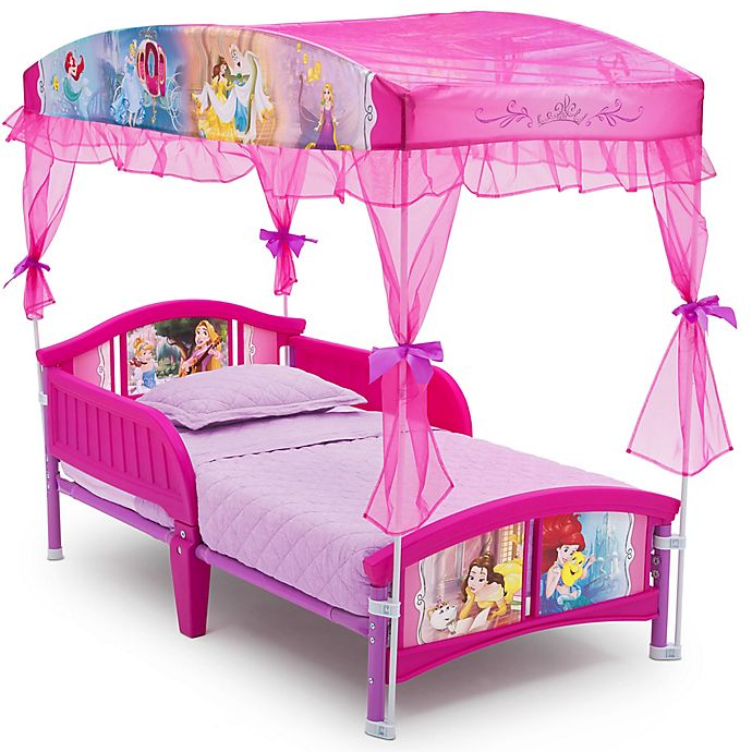 Alternate image 1 for Disney® Princess Canopy Toddler Bed in Pink