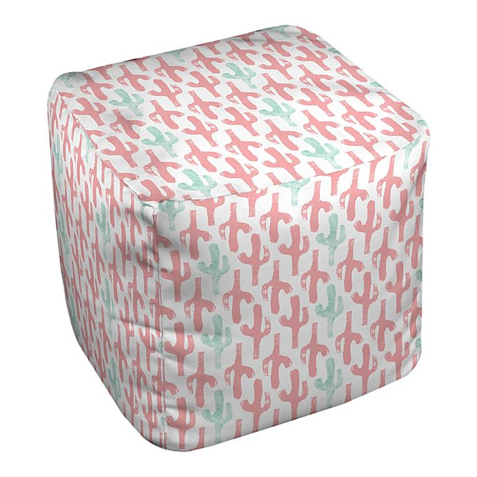 Alternate image 1 for Designs Direct Cacti Ottoman in Pink/Teal