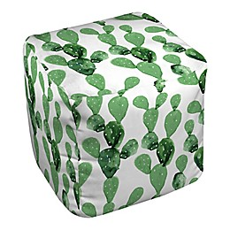 Designs Direct Watercolor Cactus Ottoman in Green