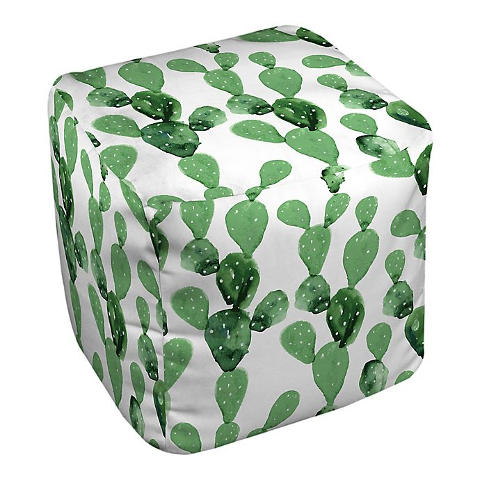 Alternate image 1 for Designs Direct Watercolor Cactus Ottoman in Green