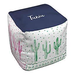 Designs Direct Watercolor Cacti Ottoman in Green