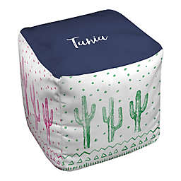 Designs Direct Watercolor Cacti Ottoman in Green