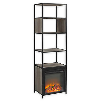 "Forest Gate 70"" Elm Industrial Modern Metal Wood Bookcase Fireplace"