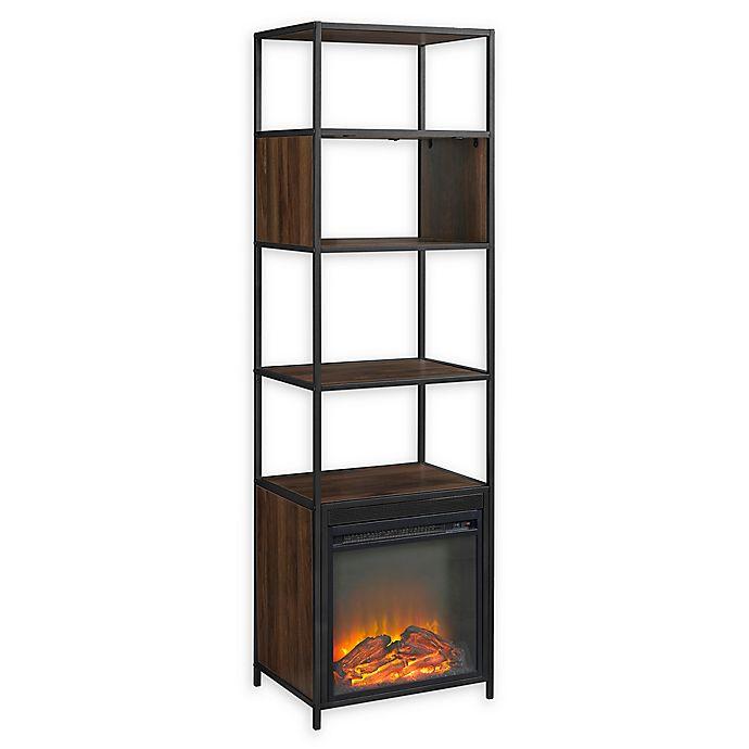 "Alternate image 1 for Forest Gate 70"" Elm Industrial Modern Metal Wood Bookcase Fireplace in Dark Walnut"