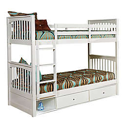 Hillsdale Furniture Pulse Twin Over Twin Bunk Bed with Storage in White