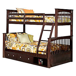 Hillsdale Furniture Pulse Twin Over Full Bunk Bed with Storage in Chocolate