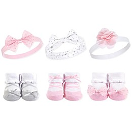 Hudson Baby® Size 0-9M 6-Piece Ballet Sock and Headband Set in Pink