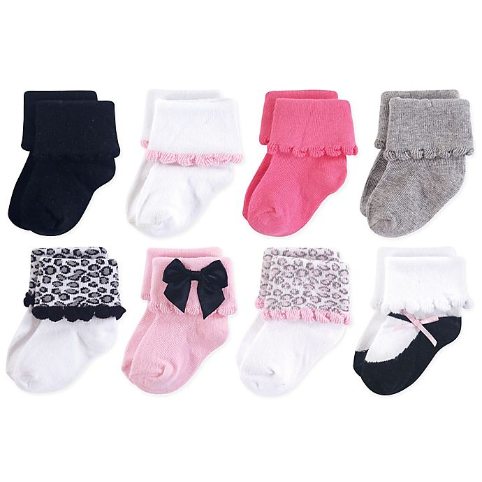 Alternate image 1 for Luvable Friends® 8-Pack Dressy Cuff Socks