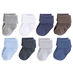 Luvable Friends® 8-Pack Solid Cuff Socks in Blue