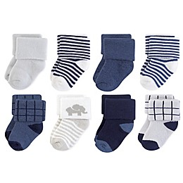 Touched by Nature 8-Pack Organic Cotton Terry Elephant Socks