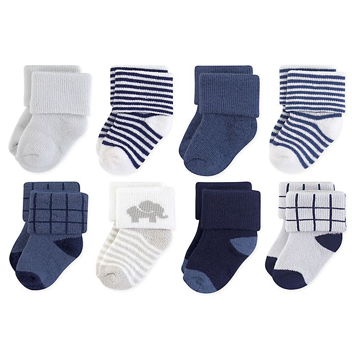 Alternate image 1 for Touched by Nature Size 0-6M 8-Pack Organic Cotton Terry Elephant Socks in Blue