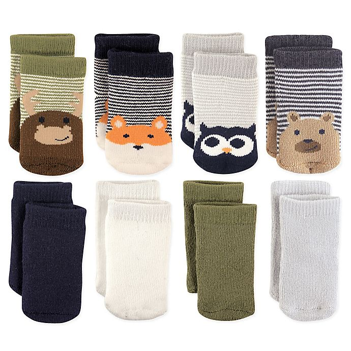 Alternate image 1 for Luvable Friends™ Size 12-24M 8-Pack Cotton Terry Fox/Owl Crew Socks