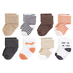 Touched by Nature 8-Pack Fox Organic Terry Socks in Brown/Orange