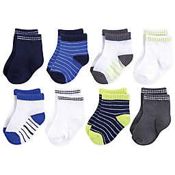 Hudson Baby® 8-Pack Short Crew Socks in Blue