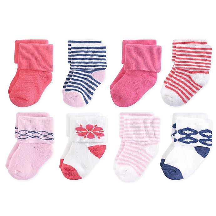 Alternate image 1 for Touched by Nature Size 6-12M 8-Pack Organic Cotton Terry Socks in Pink