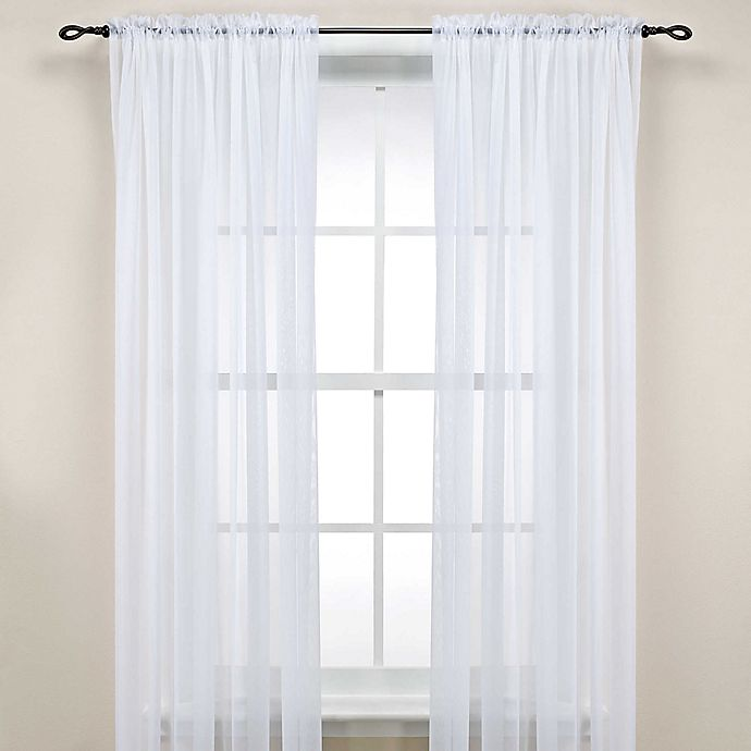 Alternate image 1 for Rod Pocket Sheer 84-Inch Window Curtain Panel in White