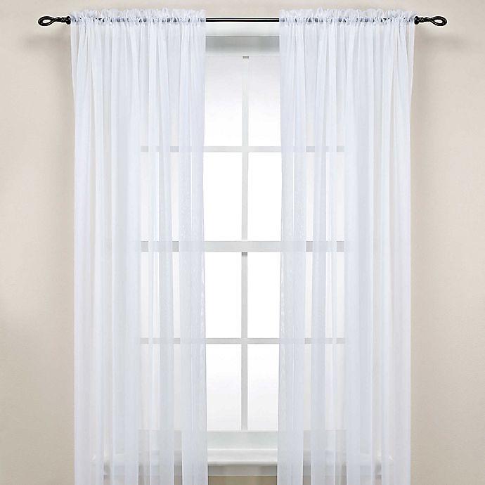 Alternate image 1 for Rod Pocket Sheer Window Curtain Panel in White