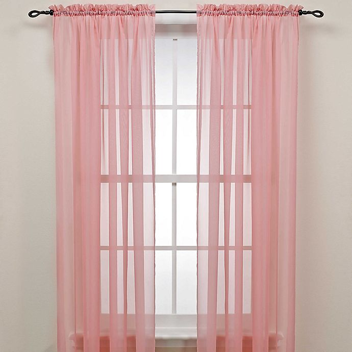 Alternate image 1 for 63-Inch Rod Pocket Sheer Window Curtain Panel in Pink