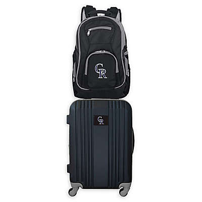MLB Colorado Rockies 2-Piece Backpack and 21-Inch Hardside Spinner Carry-On Luggage Set
