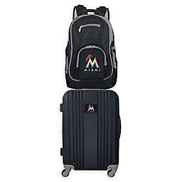 MLB Miami Marlins 2-Piece Backpack and 21-Inch Hardside Spinner Carry-On Luggage Set