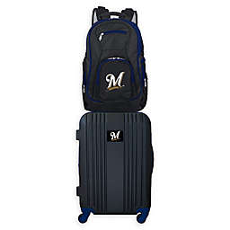 MLB Milwaukee Brewers 2-Piece Backpack and 21-Inch Hardside Spinner Carry-On Luggage Set
