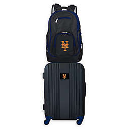 MLB New York Mets 2-Piece Backpack and 21-Inch Hardside Spinner Carry-On Luggage Set
