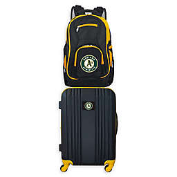 MLB Oakland Athletics 2-Piece Backpack and 21-Inch Hardside Spinner Carry-On Luggage Set
