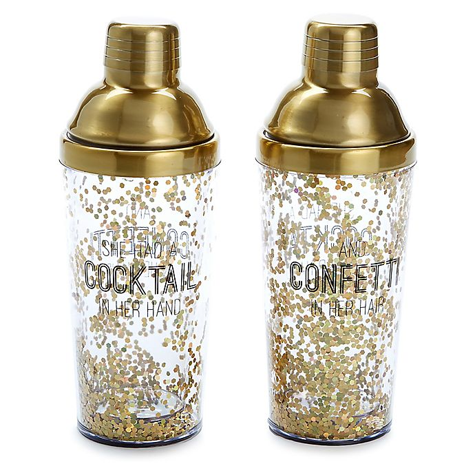 Alternate image 1 for Happy Hour Cocktail Shaker in Gold