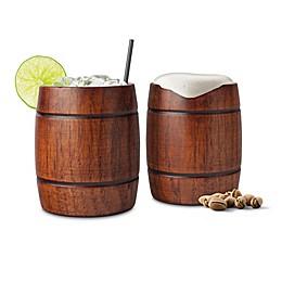 Final Touch Wood Barrel Tumblers (Set of 2)