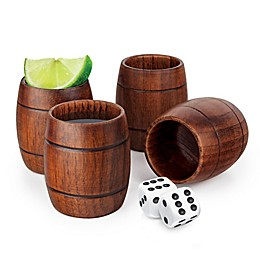Final Touch Wood Barrel Shot Glasses (Set of 4)