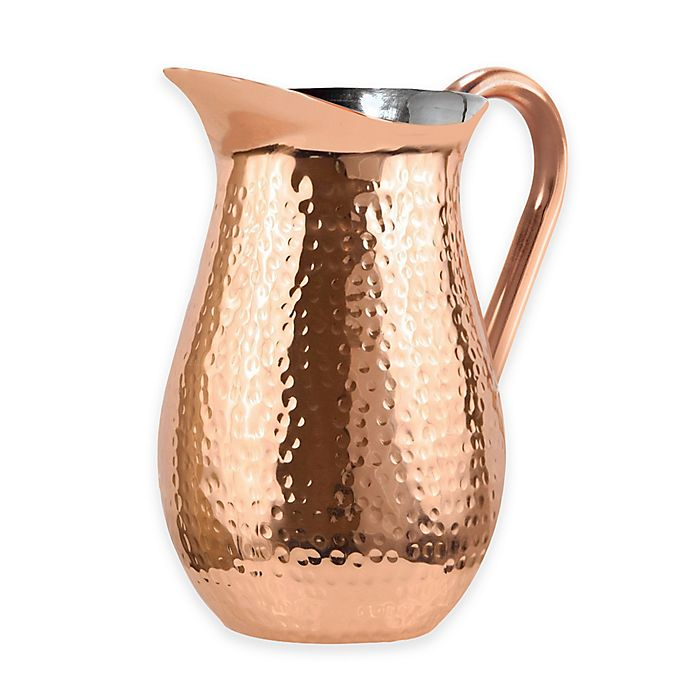 Alternate image 1 for Oggi™ Hammered Stainless Steel Copper Plated Pitcher