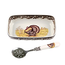 Spode® Woodland Turkey Cranberry Dish with Spoon