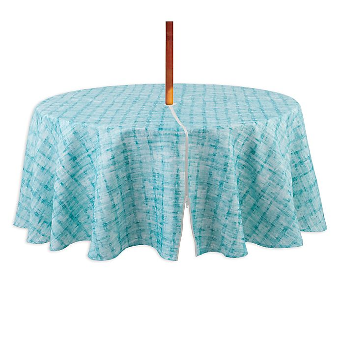Alternate image 1 for Destination Summer Indoor/Outdoor Essen 70-Inch Round Tablecloth with Umbrella Hole in Aqua