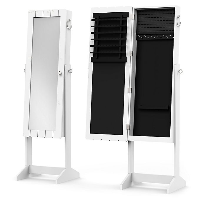 Alternate image 1 for Standing Mirrored Jewelry Armoire in White
