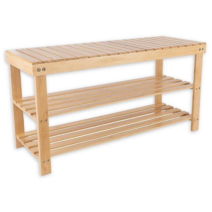 Bamboo Shoe Rack Bench   Bed Bath & Beyond