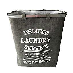Baum-Essex Fabric Laundry Hamper with Stencil Print in Grey
