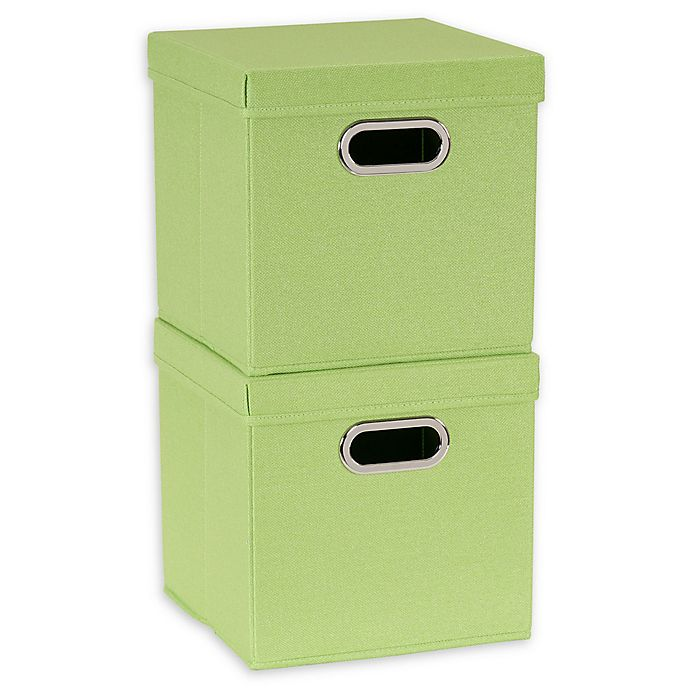 Alternate image 1 for Household Essentials® Collapsible Linen Storage Cube with Lid (Set of 2)