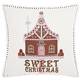 Kathy Ireland® Sweet Christmas House Square Throw Pillow in White