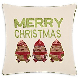 Kathy Ireland® Merry Owls Christmas Square Throw Pillow in Natural