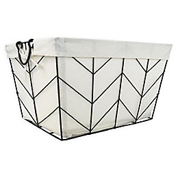 Honey-Can-Do® Chevrons Wire Bin with Cotton Liner