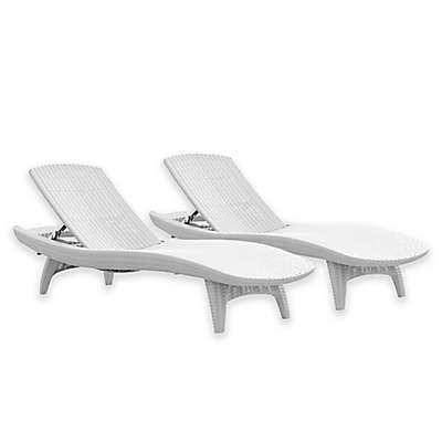 Keter Chaise Sun Loungers in White (Set of 2)