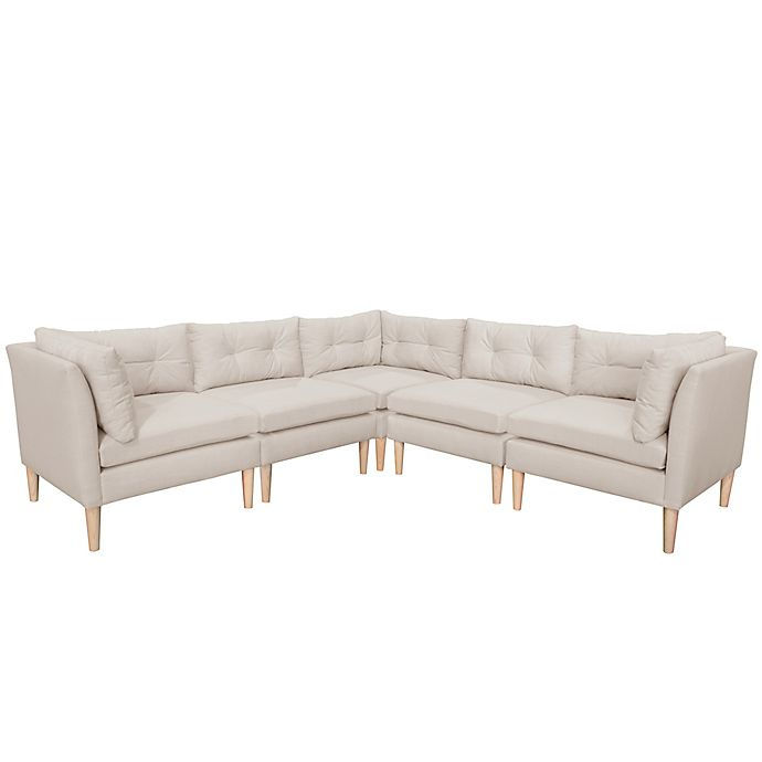 Magnificent Varick 5 Piece Linen Sectional Sofa Bed Bath Beyond Caraccident5 Cool Chair Designs And Ideas Caraccident5Info
