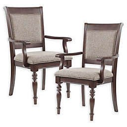 Madison Park Signature Beckett Dining Arm Chairs in Grey/Morocco Brown (Set of 2)