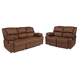 Flash Furniture Harmony Reclining Sofa and Loveseat Collection in Chocolate Brown